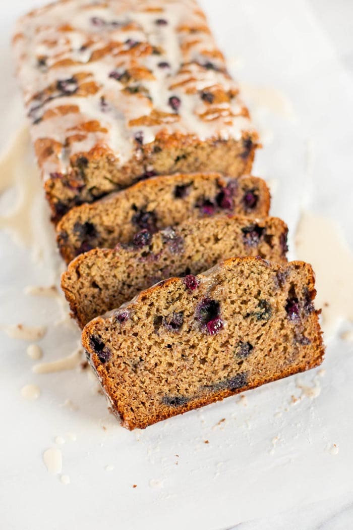 Wild Blueberry Banana Bread with Lemon Glaze | Wholefully