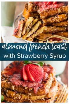 This FRENCH TOAST WITH ALMOND MILK is a great Dairy-Free French Toast recipe for those with lactose intolerance (or anyone who just prefers the flavor of almond milk). We love starting our mornings with this Crunchy Almond French Toast, and we added a delicious Homemade Strawberry Syrup! Fresh almonds along with the almond milk really adds to the overall flavor. It's unique, bursting with flavor, easy, and made with love.