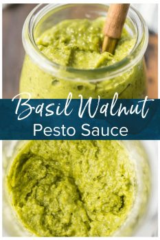 Basil Walnut Pesto is an amazing sauce full of basil, walnuts, olive oil, parmesan cheese, lemon juice, and garlic. This Homemade Pesto Sauceis the perfect topping for salmon, bruschetta, chicken, steak, and more. So much flavor and you can quickly make this Basil Pesto Recipe in a blender!