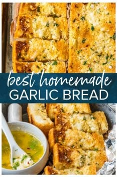 Homemade Garlic Bread is the absolute BEST Garlic Bread Recipe we have ever tried! If you want to learn How to Make Garlic Bread where the butter melts deep into the bread, creating the ultimate garlicky, carb filled side dish, you've come to the right place. We bake it, then broil it, to make it crispy on the outside while staying soft and buttery on the inside.