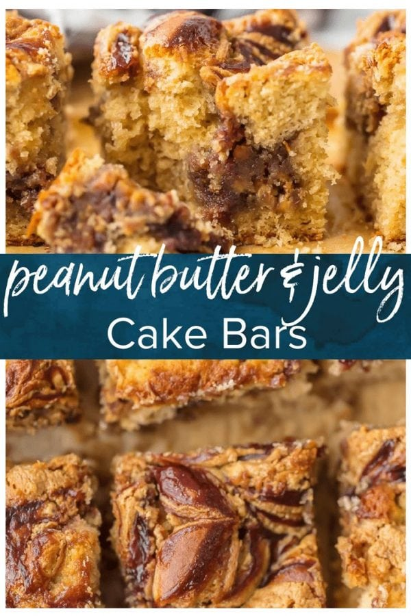 Peanut Butter and Jelly Bars are a fun and kid-friendly recipe! These Peanut Butter and Jelly Cake Bars make for a tasty dessert, a simple snack, or even an indulgent breakfast. I love putting a new spin on classic kid's food to make something creative and delicious for the whole family