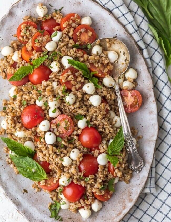 Caprese Farro Salad top view on a platter