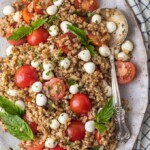 Caprese Farro Salad with a spoon