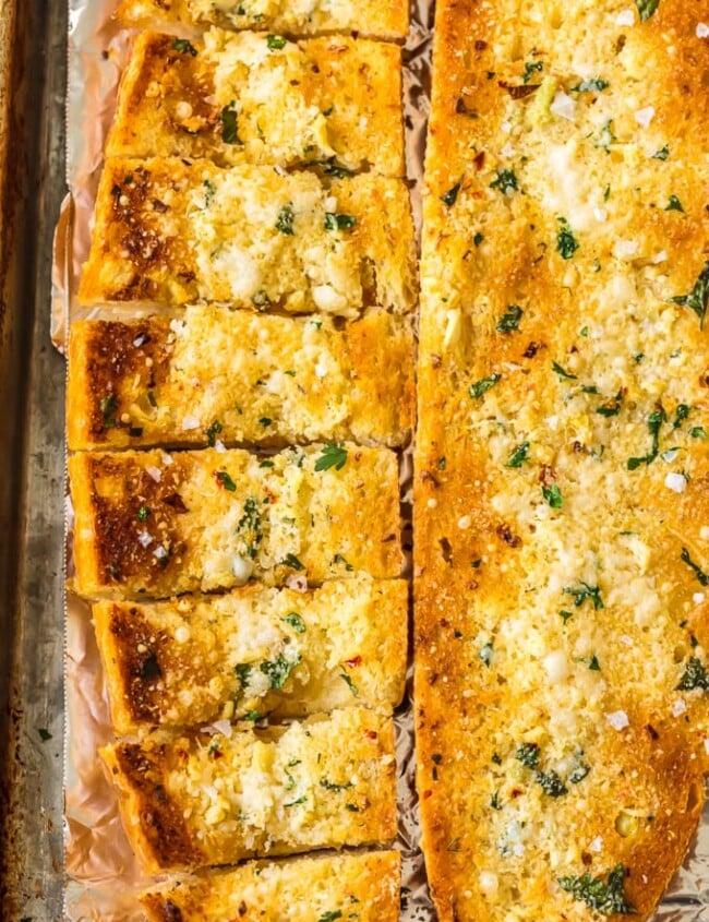 homemade garlic bread on foil