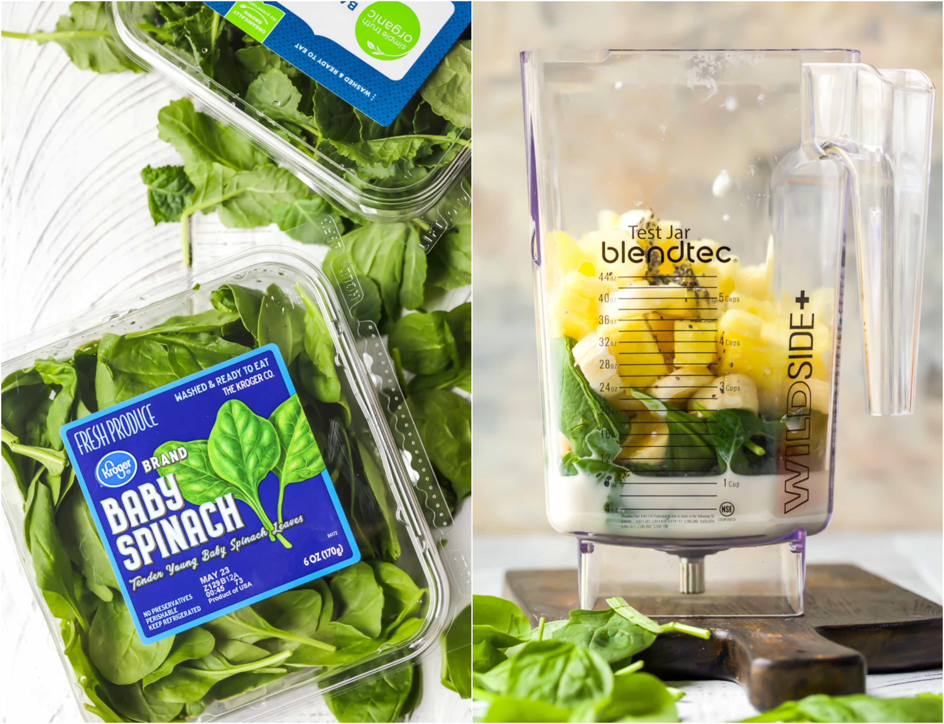 containers of baby spinach and a blender with smoothie ingredients before blending
