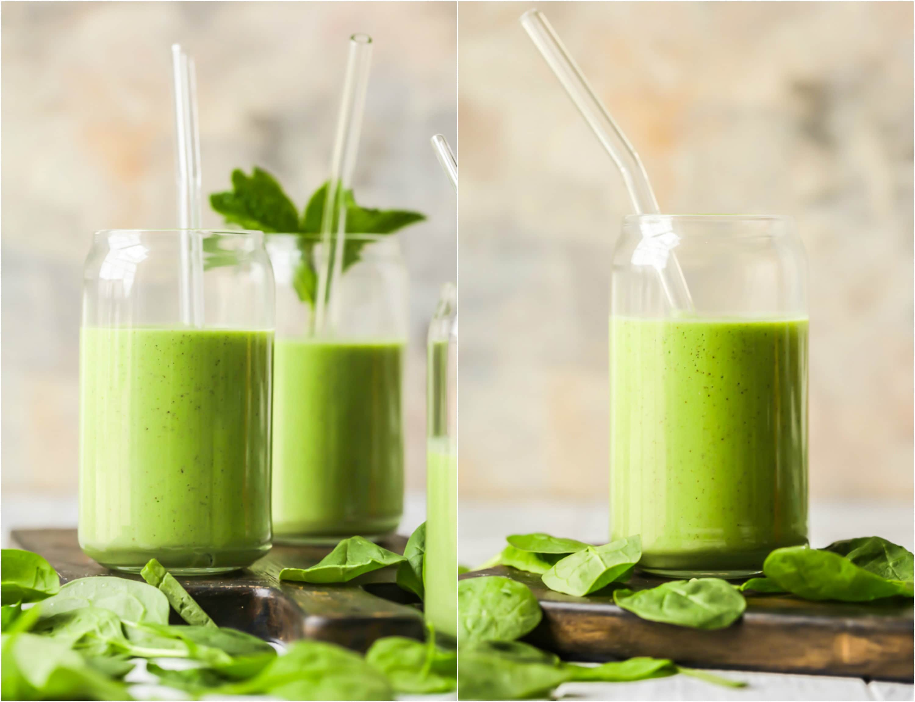 green smoothies on wooden cutting boards with baby spinach on them