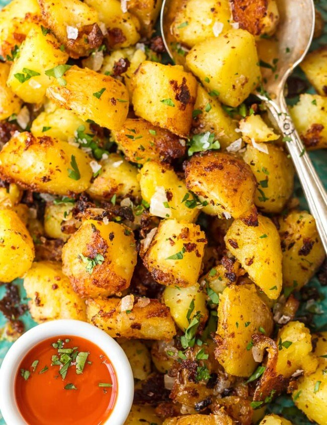 This HOME FRIES RECIPE is the perfect side dish for any meal, whether it's breakfast, lunch, or dinner. Crispy Breakfast Potatoes are a hearty way to start your day along with eggs and toast. And of course you can devour these savory Homes Fries for a little snack. These tasty potatoes go with just about everything, and they're oh so delicious!