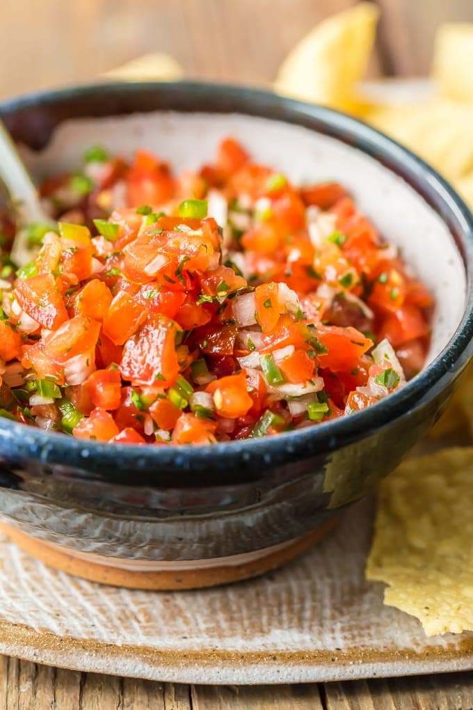 close up view of homemade pico de gallo