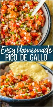 Homemade Pico de Gallo is a MUST MAKE for Summer and especially Cinco de Mayo. We love this EASY, quick, and flavorful Salsa Fresca that's loaded with fresh tomatoes, onion, garlic, lime juice, cilantro, and jalapeno peppers. This Pico de Gallo Recipe is the perfect topping for steak or chicken or is perfect for chips and salsa. Best recipe for Summer!