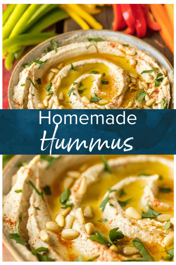 Homemade Hummus is so creamy, so flavorful, and so healthy too! This is a delicious dip you can get away with eating every single day. Learn how to make hummus with the BEST hummus recipe ever. So easy and it tastes good with just about everything!