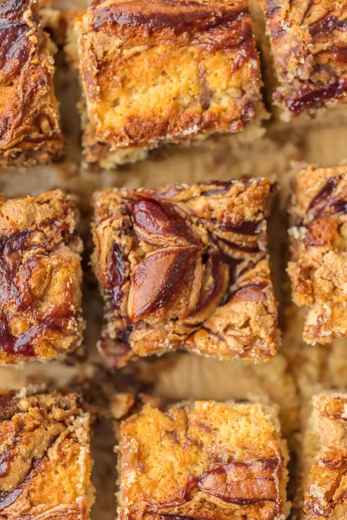 Peanut Butter and Jelly Cake Bars cut into squares