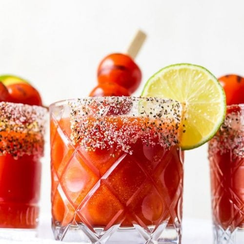 Roasted Tomato Margaritas put a twist on some classic cocktails. Mix the tequila and lime juice of a margarita with the tomato juice of a Bloody Mary, and you've got one fun and delicious drink. This easy margarita recipe is sure to please!