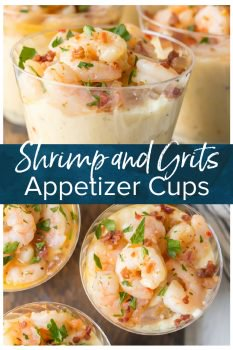 These Shrimp and Grits Appetizer Cups are so cute, delicious, EASY, and fun. I love the creamy cheese grits topped with the most flavorful Garlic Butter Shrimp. This is the best EASY Shrimp and Grits Recipe that you can make for a main course, or split into individual small cups for deceptively simple yet elevated appetizer.