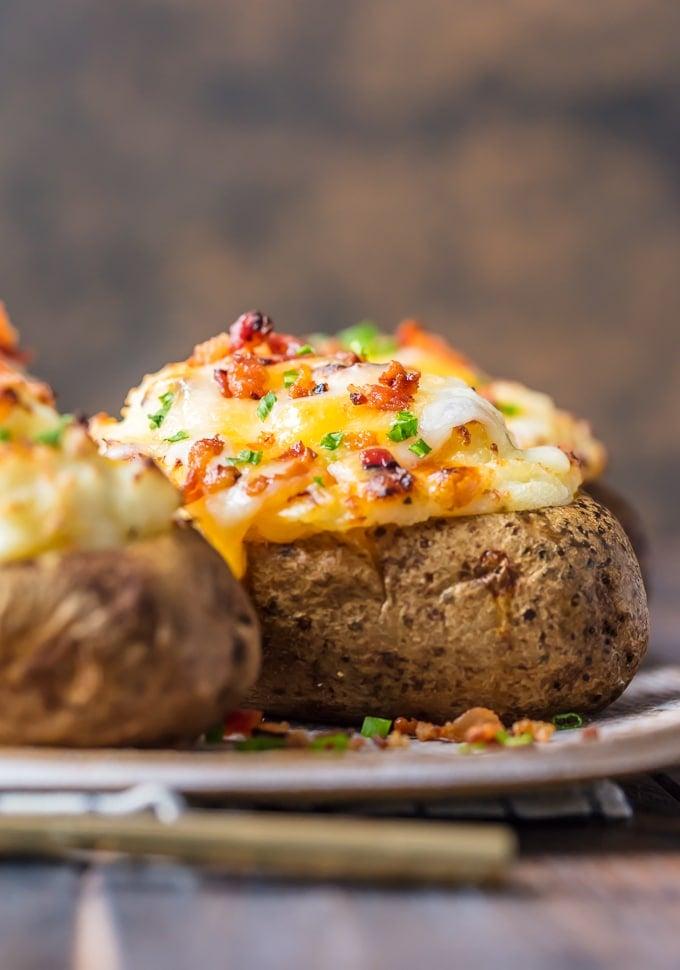 A twice baked potato on a plate