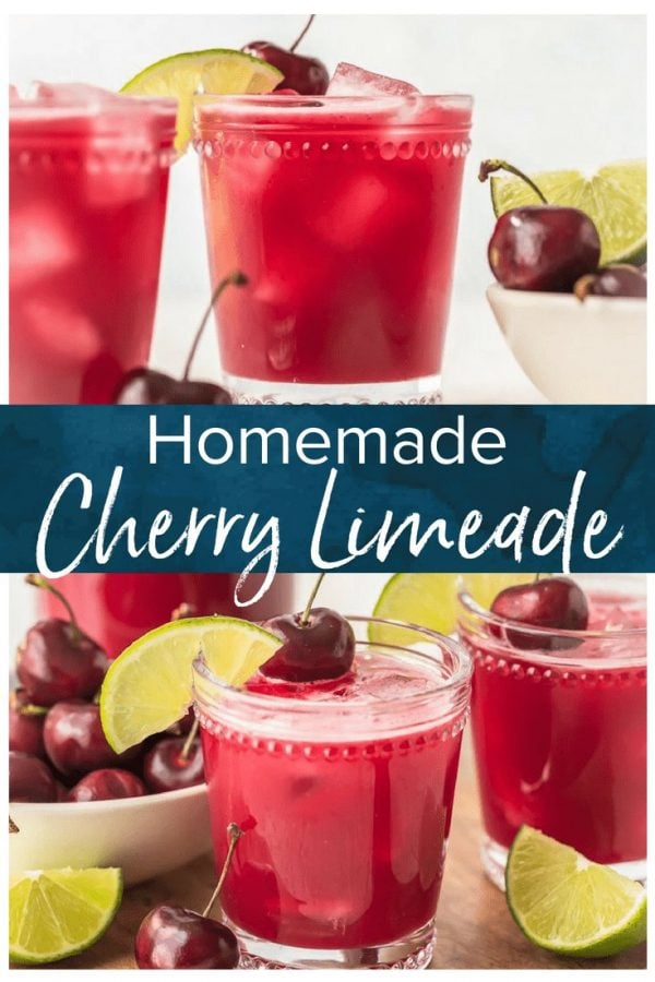 This homemade cherry limeade recipe is filled with fresh cherries & limes. One of the most refreshing summer drinks, with or without alcohol