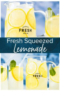 This Homemade Lemonade recipe is as pure & simple as it gets! Make fresh squeezed lemonade all summer long with the perfect recipe.