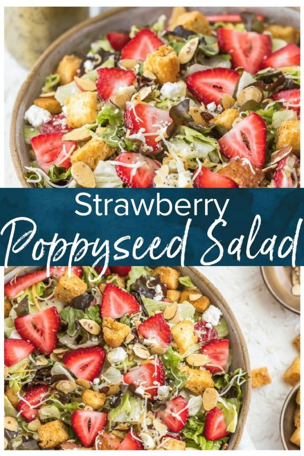 Strawberry Poppyseed Salad is a fresh, fun, & fruity summer salad recipe filled with strawberries, feta crumbles, baked croutons, & homemade dressing! #TheCookieRookie #salad #summerrecipe #strawberries #healthy