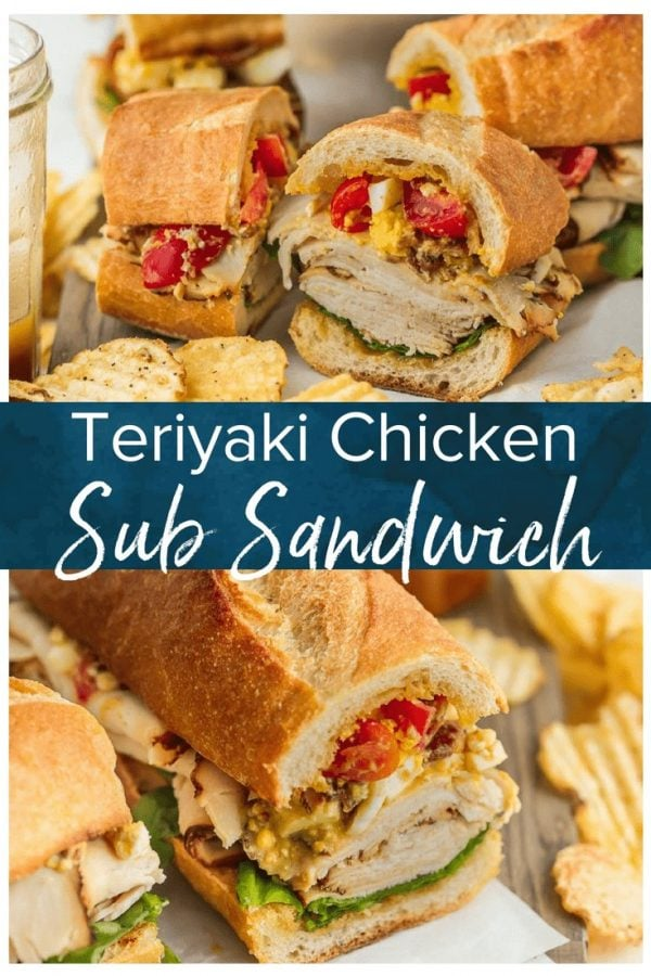 This Sub Sandwich recipe is filled with so many delicious things! In addition to the juicy teriyaki chicken breast and homemade teriyaki dressing, there's a tasty cobb salad inspired mix on top. This teriyaki chicken sandwich is a mix of a lot of different things, but it all comes together so perfectly and the flavors are so well mixed. I love this cobb salad & chicken sandwich!