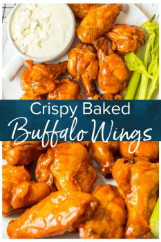 Baked Buffalo Wings are a tasty alternative to typical fried buffalo wings (and a bit healthier too!). These crispy baked chicken wings are covered in our homemade buffalo sauce for the perfect hot and spicy flavor. Baked Buffalo Chicken Wings are a real crowd pleaser and perfect for game day parties.