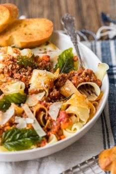 Beef Bolognese is a delicious meat-based sauce served with pasta, and topped with basil and freshly grated cheese. This is the best bolognese sauce recipe outside of Italy!