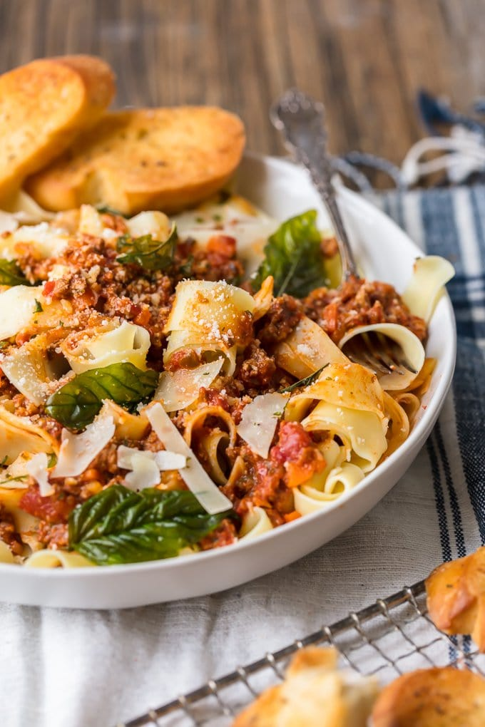 A bowl of beef bolognese