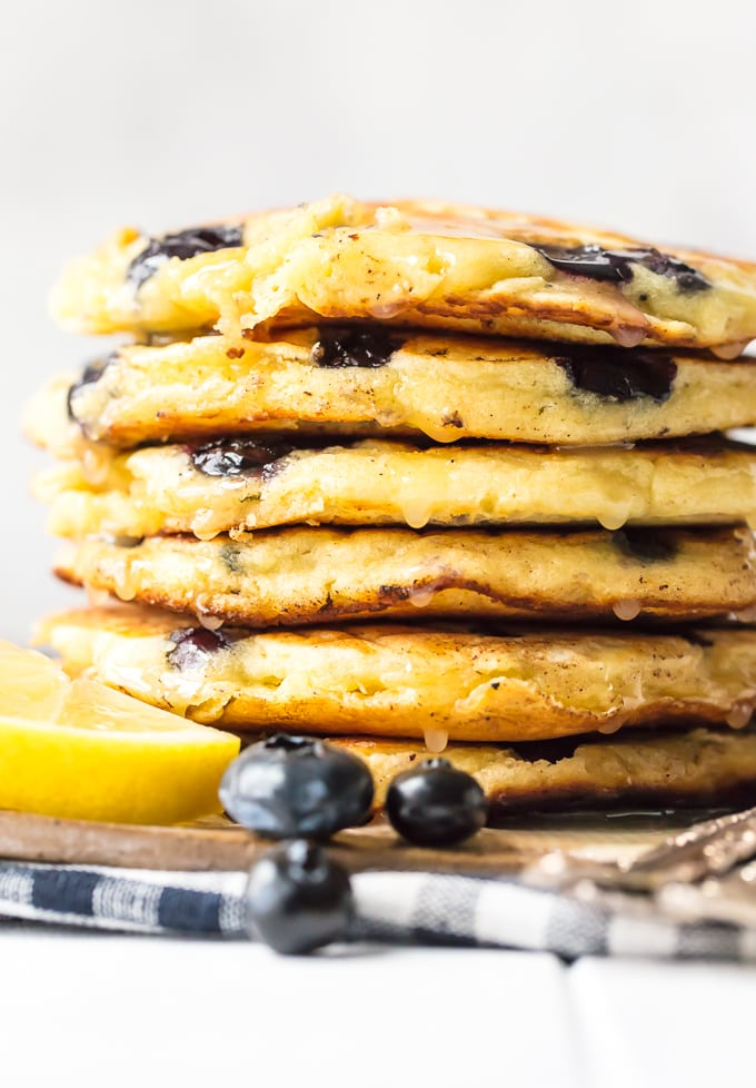 A stack of fresh blueberry pancakes