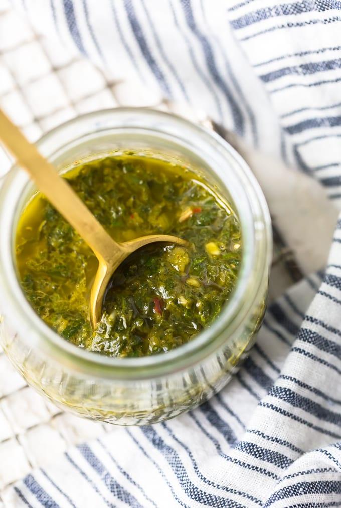 Chimichurri recipe in a glass jar