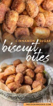 cinnamon sugar biscuit bites pinterest collage