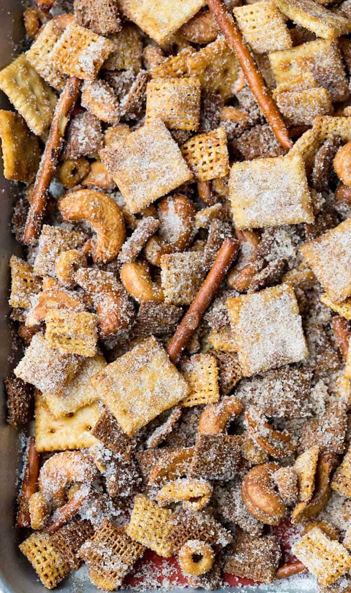 Cinnamon Sugar Sweet and Salty Chex Mix | I Heart Eating