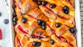 Croissant French Toast Casserole with Berries and Cream