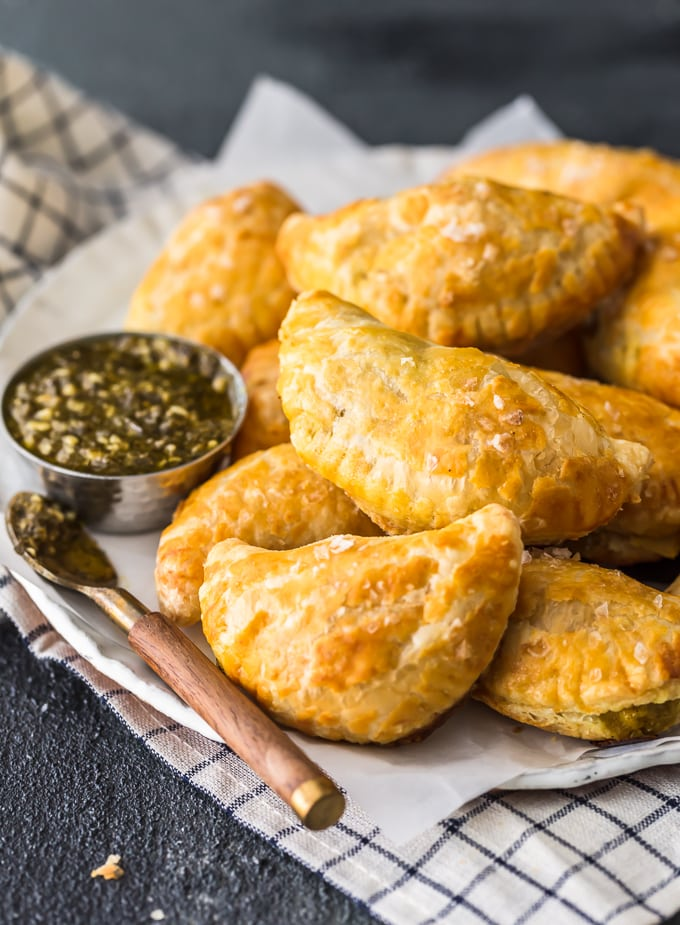 Stack of savory hand pies filled with curry chicken