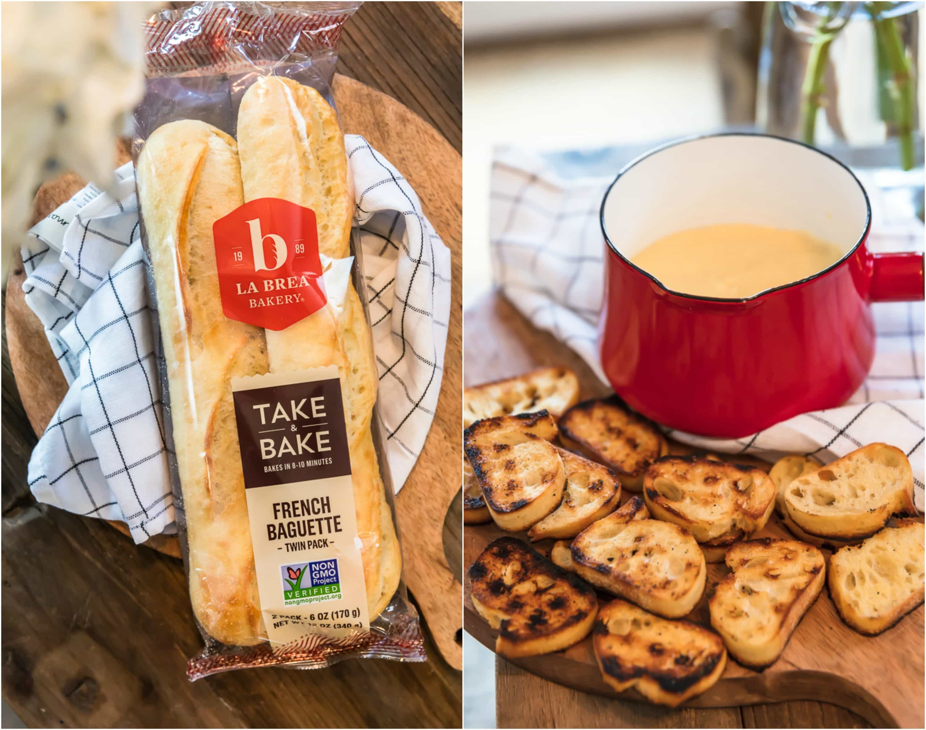 photo collage of la brea french baguette bread and toasted sliced bread with cheese fondue