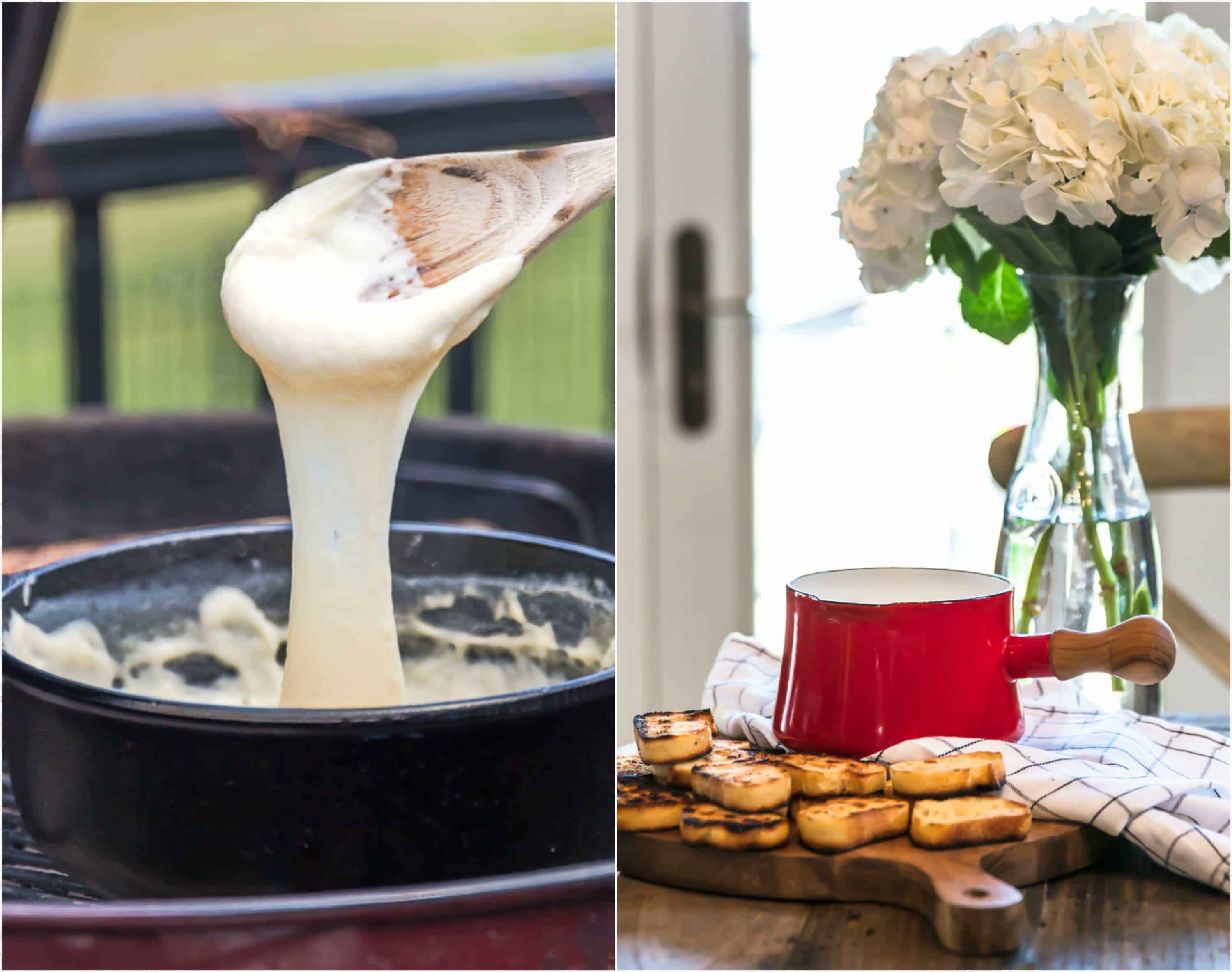photo collage of cheese fondue pulled up with wooden spoon and toasted bread on a cutting board