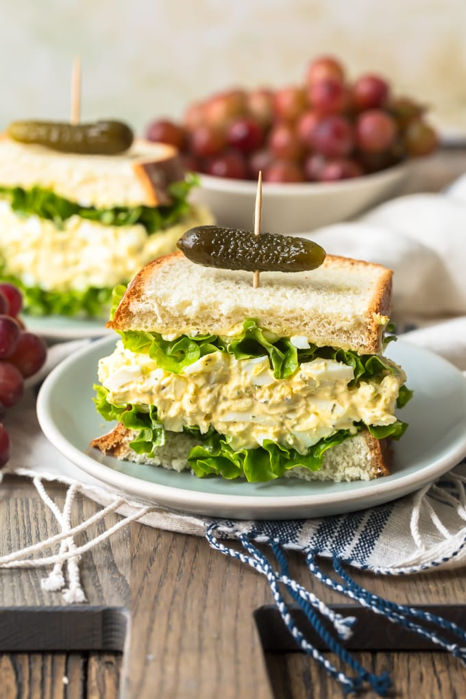 Tasty egg salad sandwich on a plate