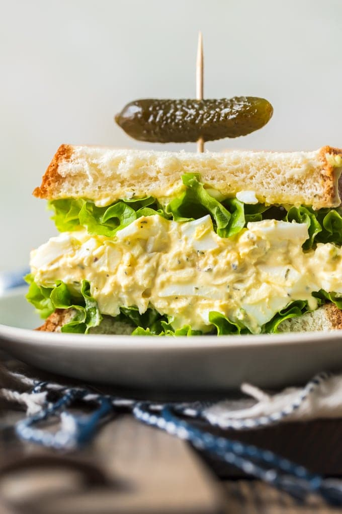 Egg Salad Sandwich recipe on a white plate