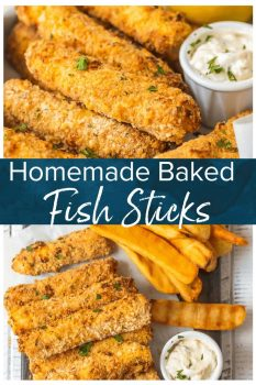 This homemade FISH STICKS recipe is baked instead of fried, making them crispy, tender, & flaky. These baked fish sticks aren't complete without homemade tartar sauce!