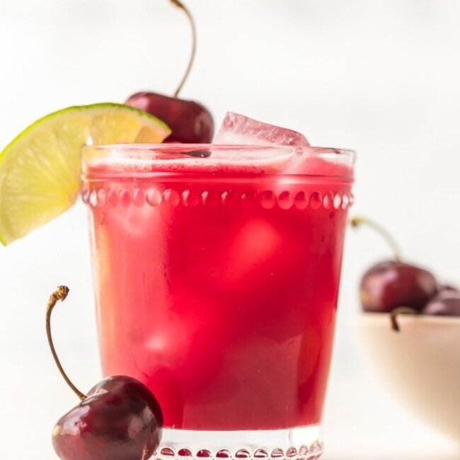homemade cherry limeade in a glass