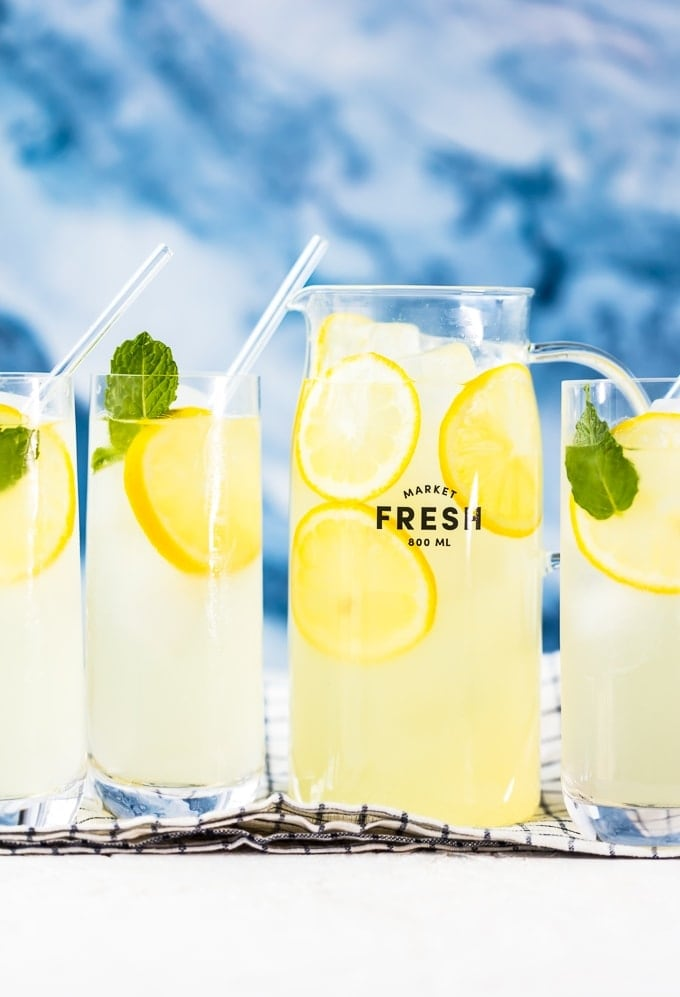 Homemade Lemonade in a pitcher and 3 glasses