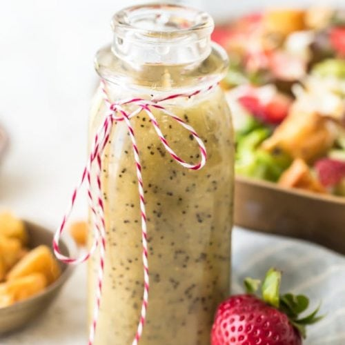 Poppy Seed Dressing is the perfect summer salad dressing. It's light, a little bit sweet, and full of flavor! This homemade poppy seed dressing recipe is super easy to make. It's pairs perfectly with my Strawberry Poppyseed Salad, but it goes well with all kinds of salads. Make some of this poppy seed salad dressing for yourself and dig in to some fresh, tasty salads!