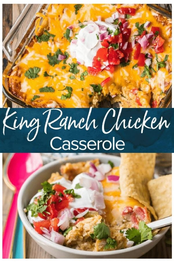 King Ranch Casserole is a creamy, cheesy, Tex-Mex inspired casserole filled with amazing ingredients. This King Ranch Chicken Casserole is made without canned soup or Velveeta!