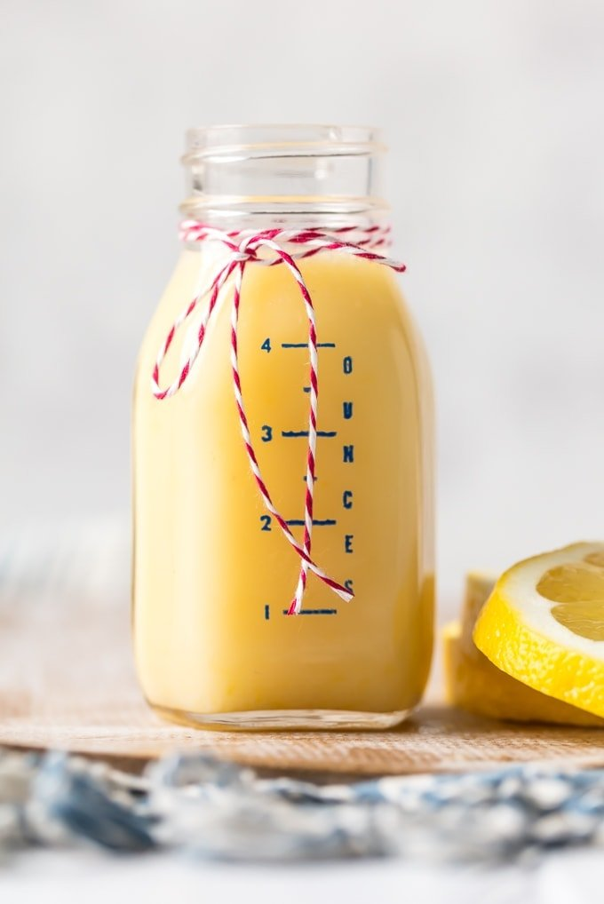 Lemon Sauce for pancakes in glass jar