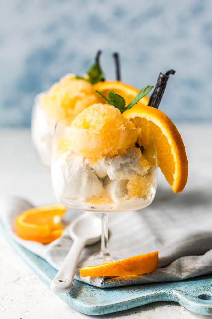 Orange creamsicle granita garnished with mint and orange slice