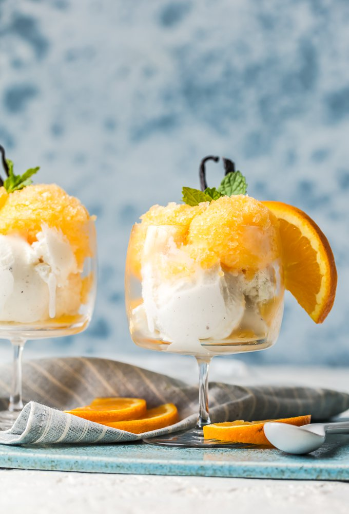 Dessert glass filled with ice cream and orange granita