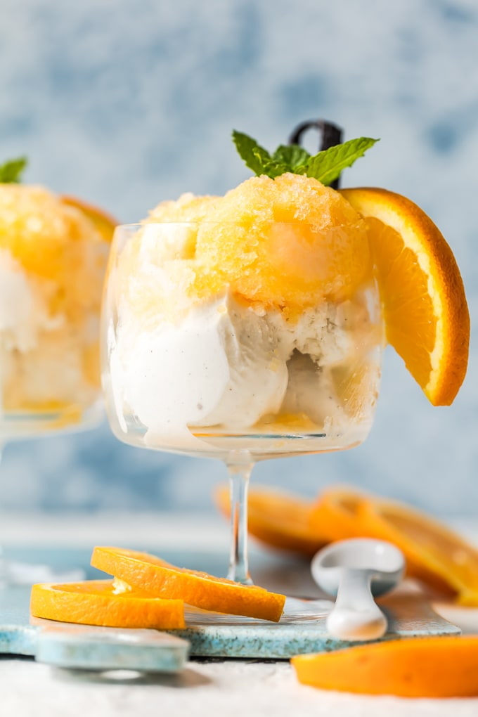 Orange cream granita dessert recipe