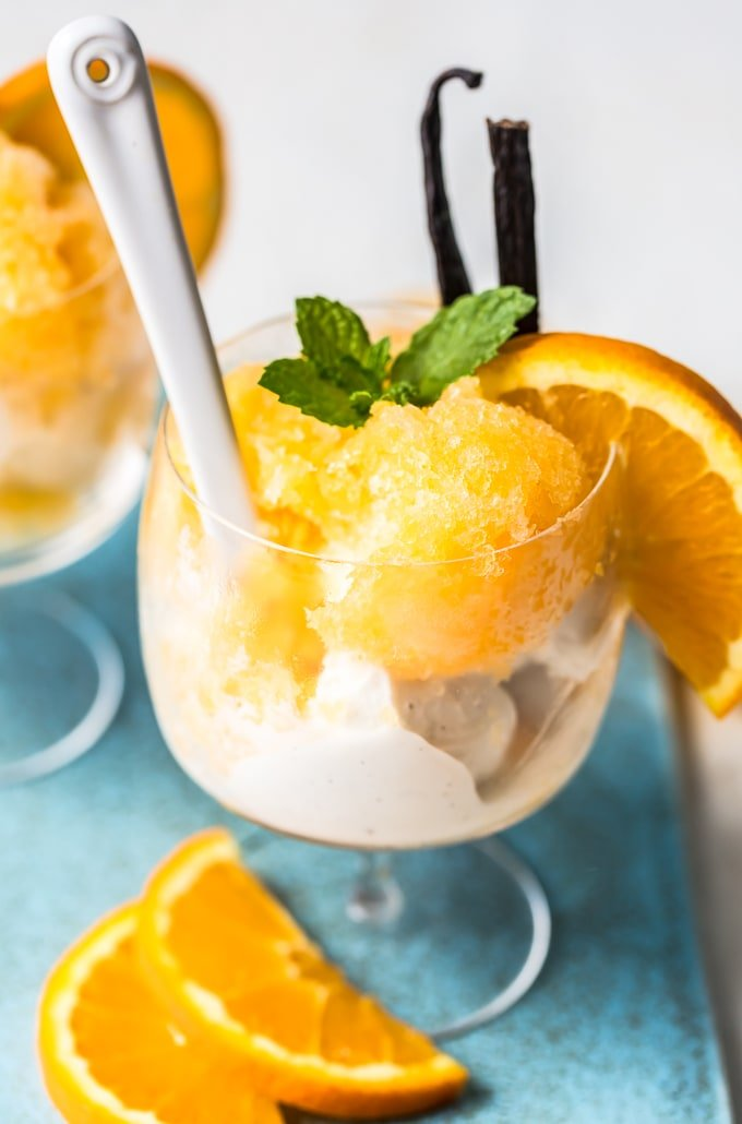 Ice cream with orange granita