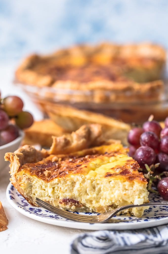 Quiche filled with bacon, cheese, and eggs
