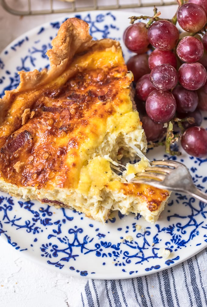 Quiche Lorraine recipe made with bacon and cheese