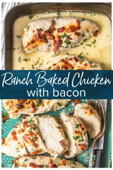 Ranch Baked Chicken with Bacon is one of my favorite Chicken Breast Recipes! This Bacon Ranch Chicken is super simple (only FIVE ingredients!), absolutely fool-proof, and has so much flavor. Your baked chicken will come out juicy and tender every single time covered in the easiest and tastiest bacon ranch sauce. Ranch Chicken has never tasted better!