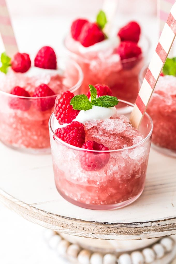Raspberry Rose Granita recipe in small glass cups