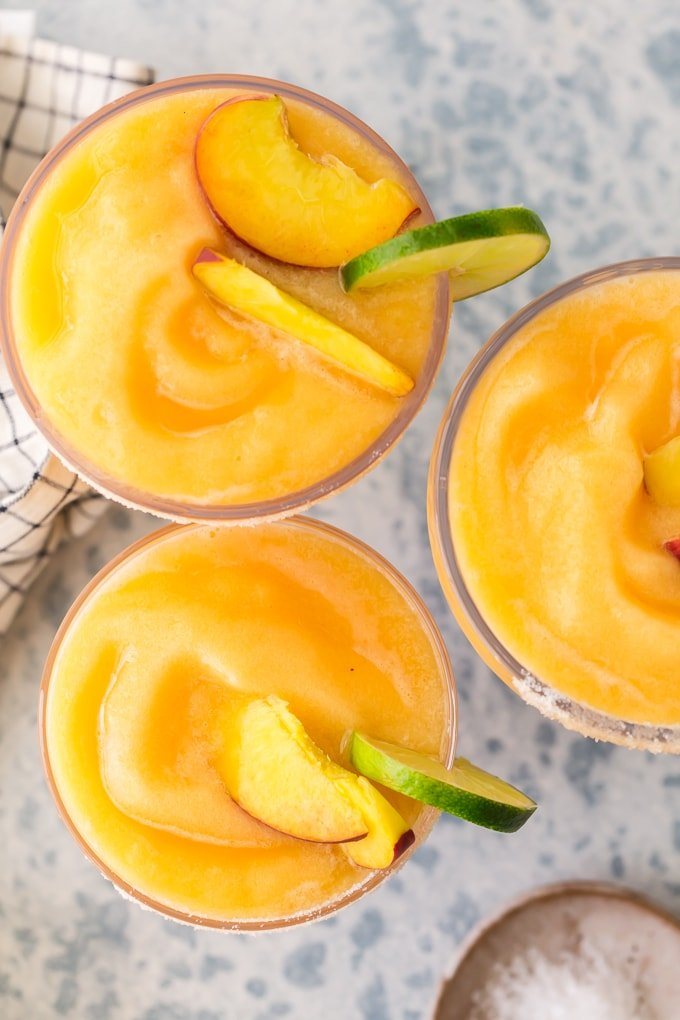 top view of skinny frozen peach margaritas
